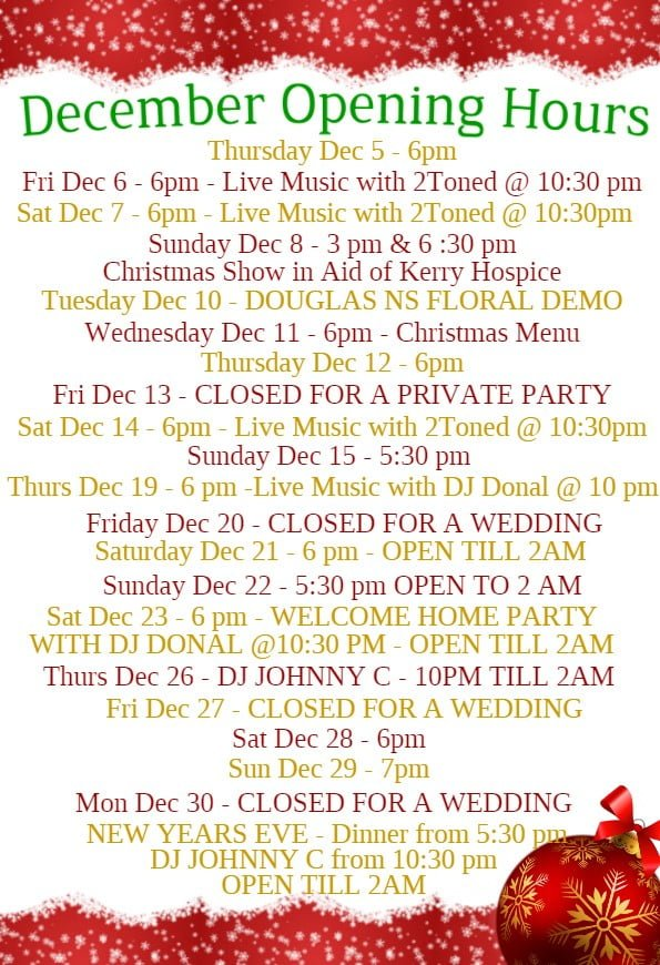 Sol y Sombra Killorglin 2019 Opening Hours